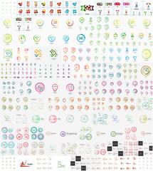 Vector mega set of linear stamp logos