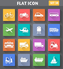 Vector application Transport Icons set in flat style