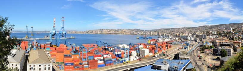 Panoramic view on Valparaiso Harbor, Chile