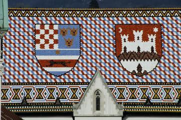 emblems on church roof