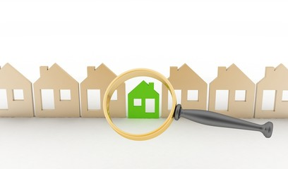 Magnifying glass selects or inspects eco-home in row of houses