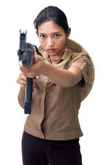 young woman with a machine gun