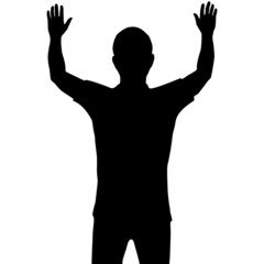 Silhouette man with show his hands up isolated on white backgrou