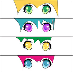 Set of anime style eyes of different colors, isolated on white.