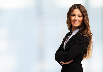 Portrait of a businesswoman. Bright background