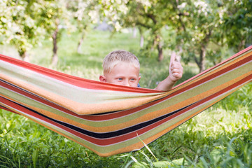 Happy little boy in hammock into the summer garden
