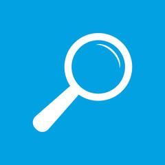Magnifying glass white icon