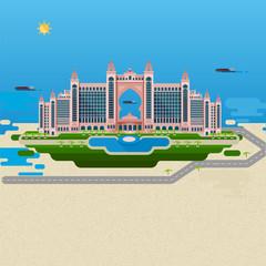 Flat design landscape. Vector image of the hotel