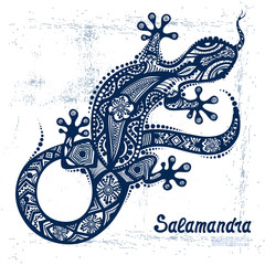 Vector drawing of a lizard or salamander