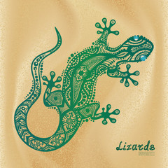 Vector drawing of a lizard with ethnic patterns