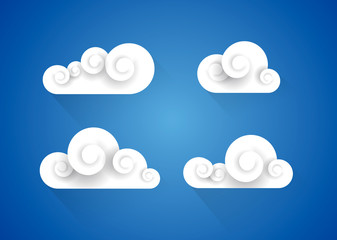 Clouds collection. Beautiful style vector illustration set.