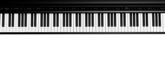 Black piano, keys closeup top view
