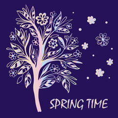 card spring flowering tree vector illustration