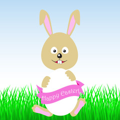Easter bunny holding egg with a pink ribbon.
