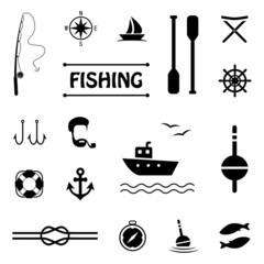 vector fish set icons, fishing boat,