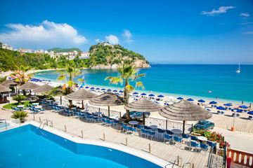 Beautiful Valtos beach near Parga town in Greece.