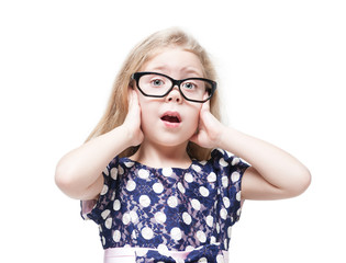 Beautiful little girl in glasses surprised isolated