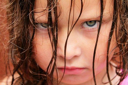 Grumpy young girl
