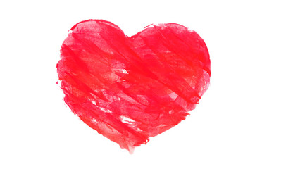 Red watercolor heart isolated on white.