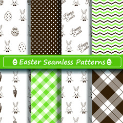 Set of scrapbook Easter seamless patterns
