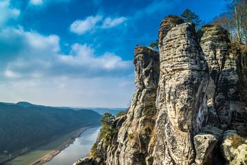 Bastei-Felsen an der Elbe in Sachsen