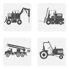 monochrome icon set with construction equipment