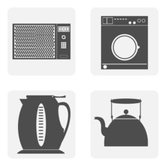 monochrome icon set with house kitchen
