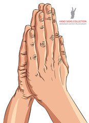 Praying hands, detailed vector illustration.