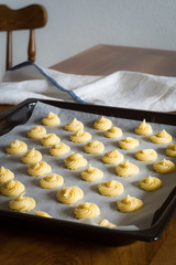 Baking Tray Full of Unbaked Puffs
