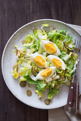 Green Salad with Pickled Cucumbers and Hard-Boiled Egg