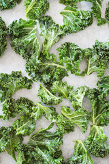 Curly Kale Seasoned Leaves for Chips Arranged on Baking Paper