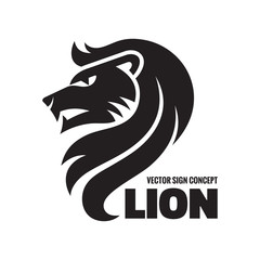 Animal lion - vector logo illustration. Lion head sign.