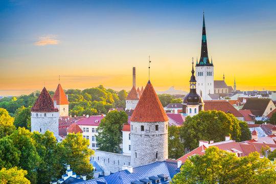Tallinn, Estonia Old City Skyline
