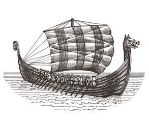 retro ship vector logo design template. boat or drakary icon.