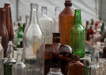 bottles at a flea market