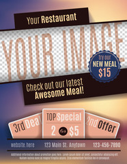 Vector flyer template design for Restaurant Coupon