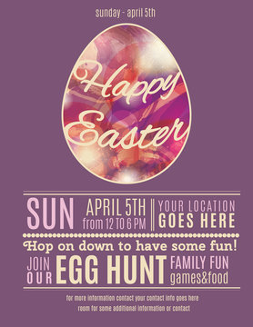 Purple Easter Egg Hunt flyer template with egg