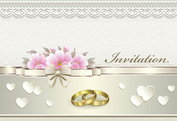 wedding card with rings and pink flowers
