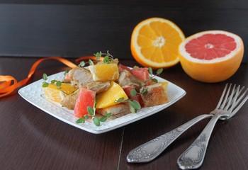 salad with chicken, orange and grapefruit
