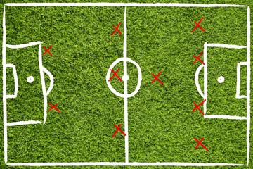 Hand drawn team soccer field