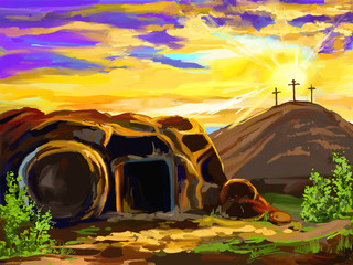 Easter Jesus Christ vector illustration  hand drawn  painted