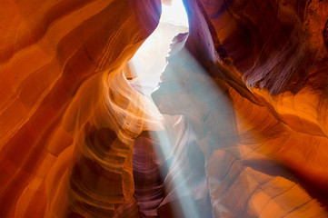 Rays of Sunlight Coming from Ceiling in Antelope Canyon
