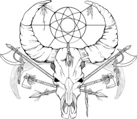 image of a skull with axes