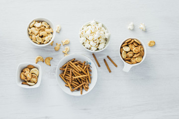Crackers and popcorn background