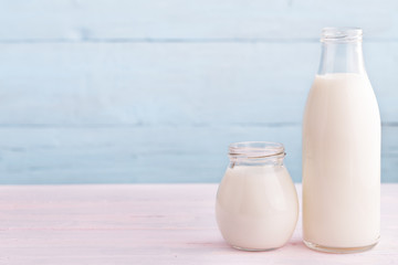 Milk and yogurt at right side