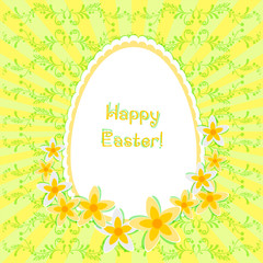 Card for Easter with egg and daffodils on floral background