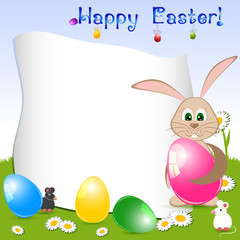 Children's card for Easter with eggs and rabbit on floral meadow