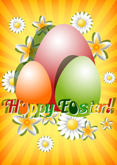 Card for Easter with eggs and flowers on yellow background
