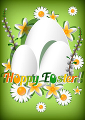 Card for Easter with eggs and spring flowers on green background