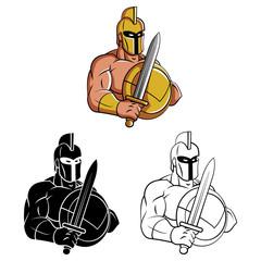 Coloring book Spartan Mascot cartoon character